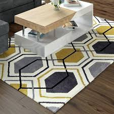 hand tufted grey yellow rug and blue street