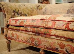 mid century couch with fold up bed | Tapestry sofa mid - late 19th century  upholstered