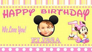 Happy Birthday Banners Personalized Baby Minnie Mouse Birthday Banner Personalized 1year Old 1st