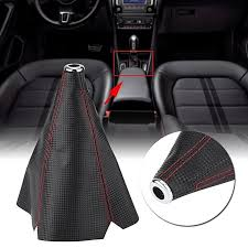 product images gallery generic universal carbon fiber style pu leather gear shift knob cover