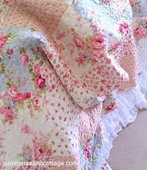 SHABBY PINK ROSES COTTAGE BLUE PATCHWORK CHIC QUILT SET & Cottage Pink Roses Patchwork Quilt Adamdwight.com
