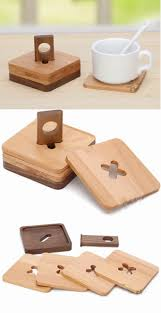 room table displays coaster set driftwood: wood coaster set of  with holder