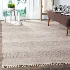 handmade striped ivory steel grey cotton rug 5 x flatweave flat weave runner