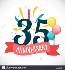Anniversary Template Anniversary 35 Years Template With Ribbon Vector Illustration Stock