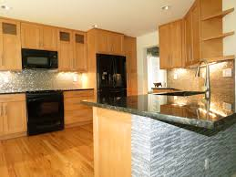 Kitchen Fasade Backsplash And Wooden Cabinets Plus Stainless Steel