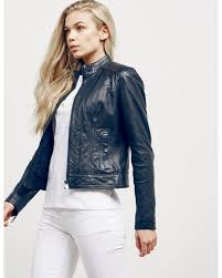 boss womens janabelle leather jacket exclusive navy blue lyst