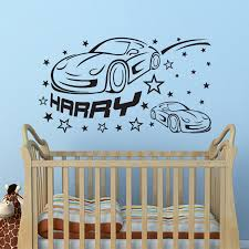 cars personalised custom name boys wall art sticker decal for on personalised baby boy wall art with personalised family name wall art decal super tech