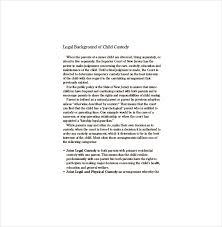 Child Custody Letter Sample Custody Agreement Template 10 Free Word Pdf Document