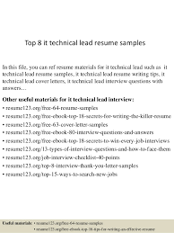 Top 8 it technical lead resume samples In this file, you can ref resume  materials ...