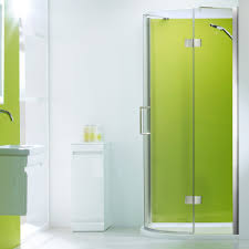 Bathroom: Glass Shower Sliding Doors With Floral Accent Pattern ...