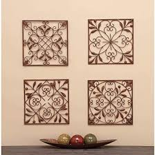 Full assortment of exclusive products found only at our official site. Amazon Com Set Of 4 Traditional Floral Scrollwork Metal Wall Decor By Brown Iron Home Kitchen