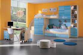 remarkable yellow accent wall color matched with blue furniture of boys bedroom ideas completed with twin blue kids furniture wall