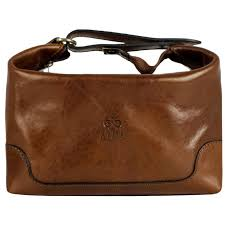 amber leather toiletry bag autumn leaves