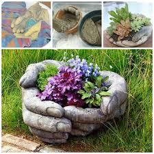 diy concrete garden hands