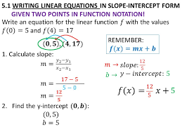 7 5 1 writing linear equations in slope intercept form given two points in function notation