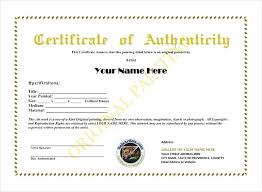 Certificate Of Authenticity Template Best Artwork Certificate Of Authenticity Template Fascinating 48 Elegant