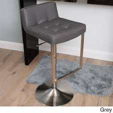 Modern Style Bar Stools Looper Brushed Stainless Steel Tufted Low Back Adjustable Height