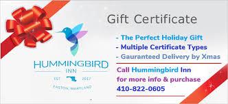 Holiday Gift Certificates Holiday Gift Certificates Hummingbird Inn