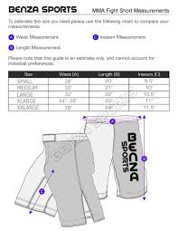 Cage Fighter Shorts Size Chart Boxing Muay Thai Mma Judo Karate Taekwondo Supplies