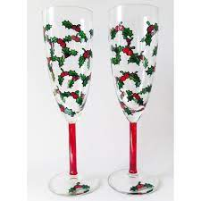 Christmas Champagne Holly Glass Pair - Folksy