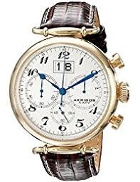 amazon co uk akribos xxiv watches akribos xxiv men s quartz watch white dial chronograph display and brown leather strap ak628yg
