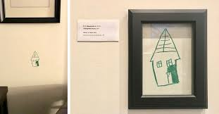 pa s encourage kid s creativity by framing his scribble on their wall