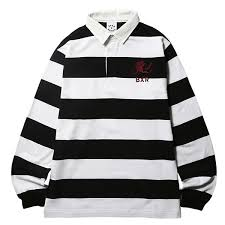 born x raised ボーンアンドレイズド rugby shirt long sleeves horizontal stripe rugby shirt