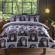 cheeky monkey monochrome black and white chimpanzee design bedding duvet cov