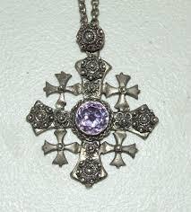 antique sterling silver jerum holy land filigree cross amethyst alexandrite