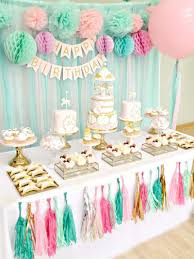 Pink Mint And Gold Carousel Cake Dessert Table Birthday Party Ideas