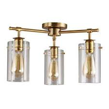 brooklyn collection 3 light antique brass semi flush mount with clear glass shades