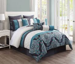 14 piece queen justine charcoal and teal reversible bed in a bag set