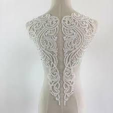 <b>1Piece Ivory</b> White <b>Lace Applique</b> Neckline Collar Appliques ...