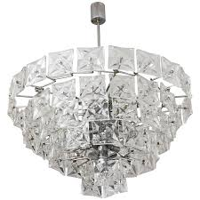 mid century modern chandelier kinkeldey polished chrome and molded crystal for