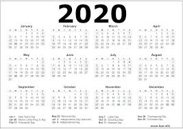 2020 Calendar Printable With Us Holidays Calendars Printable Twitter Headers Facebook Covers