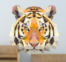 geometric tiger head decal
