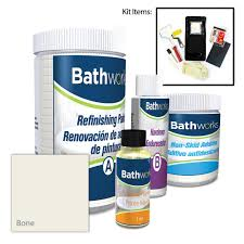 bathworks 22 oz diy bathtub refinishing kit with slip guard in bone