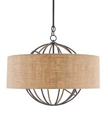 iron orb chandelier with burlap shade the designer insider burlap drum shade chandelier