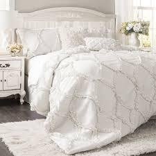 bedding set white ruffle amazing ruffled