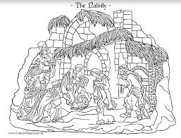 Small Picture Nativity Coloring Page Catholic Playground
