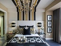 amazing bedroom with stripes ceiling and metal wire chandelier with modern wall sconces