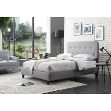 full size upholstered bed. Hodedah Gray Full-Size Upholstered Panel Bed With Tufted Headboard Full Size I