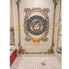china classic versace design stained
