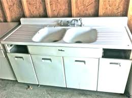 vintage metal kitchen sink cabinet for retro old drainboard double glamorous