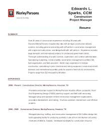 Formal Resume Template Beauteous Construction Project Manager Resume Management Samples Managing