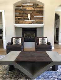 built this reclaimed wood and concrete coffee table for client any thoughts