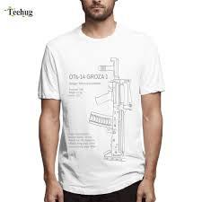 Vertical T Shirt Design Us 10 89 43 Off Cartoon Design Ots 14 Bullpup Rifle Groza T Shirt Pubg Vertical Grungy T Shirt Casual Top Design For Man Round Neck T Shirt In