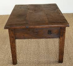 end view of antique oak coffee table