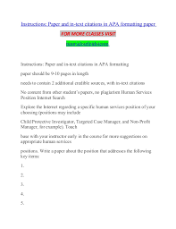 Instructions Paper And In Text Citations In Apa Formatting