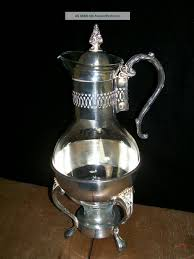 vintage silver plated glass coffee decantor warmer stand carafe tea pot